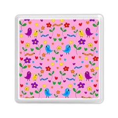 Pink Cute Birds And Flowers Pattern Memory Card Reader (square)
