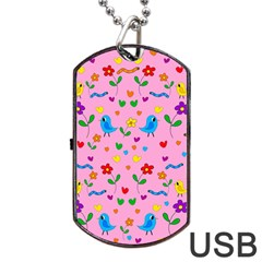 Pink Cute Birds And Flowers Pattern Dog Tag Usb Flash (one Side) by Valentinaart