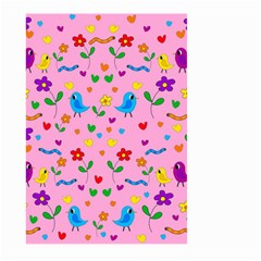 Pink Cute Birds And Flowers Pattern Large Garden Flag (two Sides) by Valentinaart