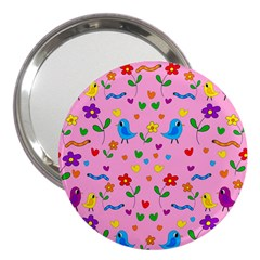 Pink Cute Birds And Flowers Pattern 3  Handbag Mirrors by Valentinaart