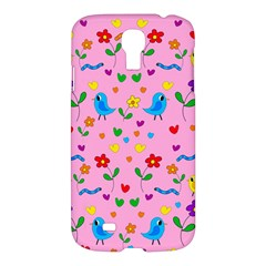Pink Cute Birds And Flowers Pattern Samsung Galaxy S4 I9500/i9505 Hardshell Case