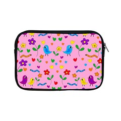 Pink Cute Birds And Flowers Pattern Apple Ipad Mini Zipper Cases by Valentinaart