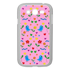 Pink Cute Birds And Flowers Pattern Samsung Galaxy Grand Duos I9082 Case (white) by Valentinaart