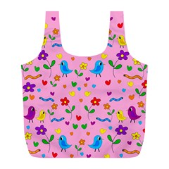 Pink Cute Birds And Flowers Pattern Full Print Recycle Bags (l)  by Valentinaart