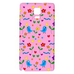 Pink Cute Birds And Flowers Pattern Galaxy Note 4 Back Case by Valentinaart