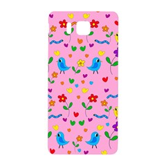 Pink Cute Birds And Flowers Pattern Samsung Galaxy Alpha Hardshell Back Case by Valentinaart