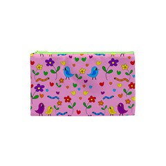 Pink Cute Birds And Flowers Pattern Cosmetic Bag (xs) by Valentinaart