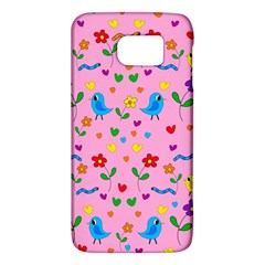 Pink Cute Birds And Flowers Pattern Galaxy S6 by Valentinaart