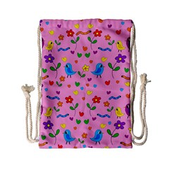 Pink Cute Birds And Flowers Pattern Drawstring Bag (small) by Valentinaart