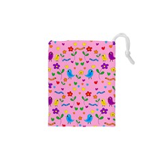 Pink Cute Birds And Flowers Pattern Drawstring Pouches (xs)  by Valentinaart