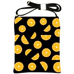 Oranges Pattern   Black Shoulder Sling Bags by Valentinaart