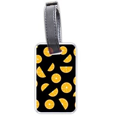 Oranges Pattern   Black Luggage Tags (two Sides) by Valentinaart