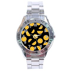 Oranges Pattern   Black Stainless Steel Analogue Watch by Valentinaart