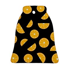 Oranges Pattern   Black Bell Ornament (2 Sides)