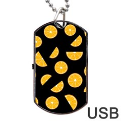 Oranges Pattern   Black Dog Tag Usb Flash (one Side) by Valentinaart