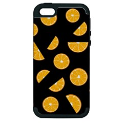 Oranges Pattern   Black Apple Iphone 5 Hardshell Case (pc+silicone) by Valentinaart