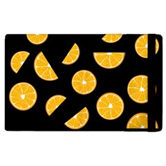 Oranges Pattern   Black Apple Ipad 2 Flip Case by Valentinaart