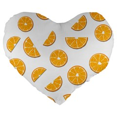 Oranges Large 19  Premium Flano Heart Shape Cushions by Valentinaart