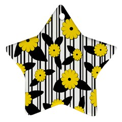 Yellow Floral Pattern Ornament (star)  by Valentinaart