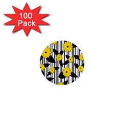 Yellow Floral Pattern 1  Mini Buttons (100 Pack)  by Valentinaart