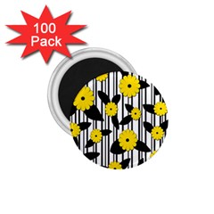 Yellow Floral Pattern 1 75  Magnets (100 Pack)