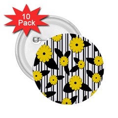 Yellow Floral Pattern 2 25  Buttons (10 Pack)