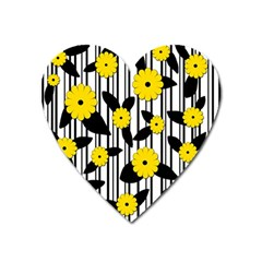 Yellow Floral Pattern Heart Magnet by Valentinaart