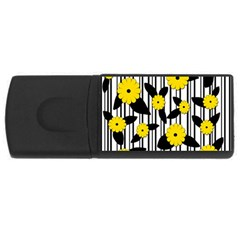 Yellow Floral Pattern Usb Flash Drive Rectangular (4 Gb)  by Valentinaart