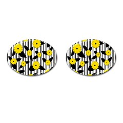 Yellow Floral Pattern Cufflinks (oval) by Valentinaart