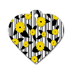 Yellow Floral Pattern Dog Tag Heart (two Sides) by Valentinaart