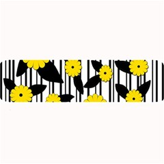 Yellow Floral Pattern Large Bar Mats by Valentinaart
