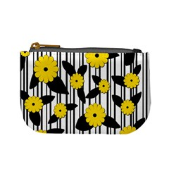 Yellow Floral Pattern Mini Coin Purses by Valentinaart