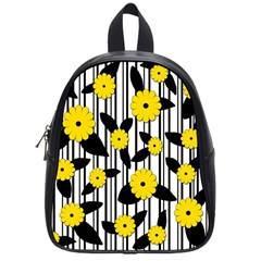 Yellow Floral Pattern School Bags (small)  by Valentinaart
