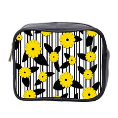 Yellow Floral Pattern Mini Toiletries Bag 2 Side by Valentinaart