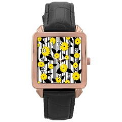 Yellow Floral Pattern Rose Gold Leather Watch  by Valentinaart