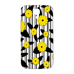 Yellow Floral Pattern Samsung Galaxy S4 I9500/i9505  Hardshell Back Case by Valentinaart