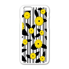 Yellow Floral Pattern Apple Iphone 6/6s White Enamel Case by Valentinaart