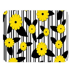 Yellow Floral Pattern Double Sided Flano Blanket (large)