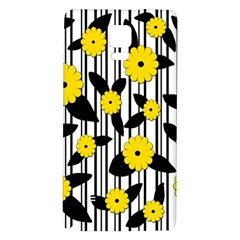 Yellow Floral Pattern Galaxy Note 4 Back Case by Valentinaart