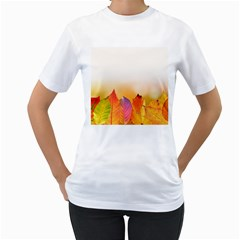 Autumn Leaves Colorful Fall Foliage Women s T-shirt (white) (two Sided) by Amaryn4rt