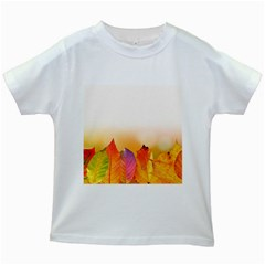 Autumn Leaves Colorful Fall Foliage Kids White T-shirts by Amaryn4rt
