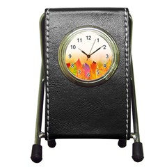 Autumn Leaves Colorful Fall Foliage Pen Holder Desk Clocks by Amaryn4rt