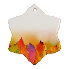 Autumn Leaves Colorful Fall Foliage Snowflake Ornament (2 Side) by Amaryn4rt