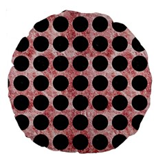 Circles1 Black Marble & Red & White Marble (r) Large 18  Premium Round Cushion  by trendistuff