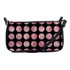 Circles1 Black Marble & Red & White Marble Shoulder Clutch Bag by trendistuff