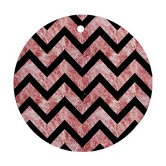 Chevron9 Black Marble & Red & White Marble (r) Round Ornament (two Sides) by trendistuff