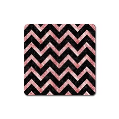 Chevron9 Black Marble & Red & White Marble Magnet (square) by trendistuff