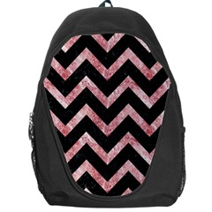 Chevron9 Black Marble & Red & White Marble Backpack Bag by trendistuff