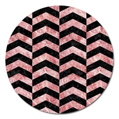 Chevron2 Black Marble & Red & White Marble Magnet 5  (round) by trendistuff