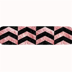 Chevron2 Black Marble & Red & White Marble Large Bar Mat